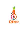 peace carrot club unity logo symbol vector image vector image