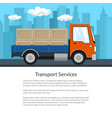 poster of small truck with boxes on the road vector image