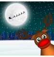 Reindeer peeking sideways in the forest vector image