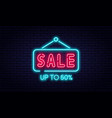 sale neon sign sale and discount concept bright vector image