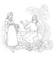 samaritan woman at well coloring page vector image vector image