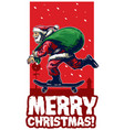 santa claus riding skateboard christmas card vector image vector image