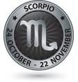 Scorpio zodiac silver sign virgo symbol vector image vector image