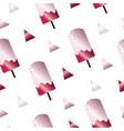 seamless pattern with ice cream in pink colors vector image