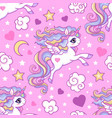 seamless pattern with white unicorns stars vector image vector image