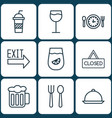 set of 9 meal icons includes eating house vector image vector image