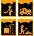 set yellow urban building industrial icons vector image vector image
