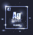 silver element periodic table shine effect vector image