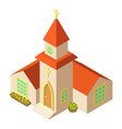 small church icon isometric style vector image vector image