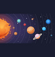 solar system cartoon sun and earth planets on vector image