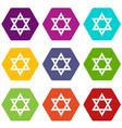 star of david icon set color hexahedron vector image vector image