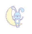 teddy rabbit seated in the moon vector image vector image