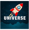 universe rocket flying in space image vector image