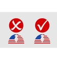 USA flag textured person icon with vote mark vector image vector image