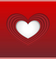 white cut paper heart background vector image vector image