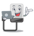 with laptop hard drive in shape of mascot vector image vector image