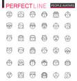 avatar thin line web icons set people head vector image