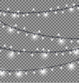 garlands with round bulbs on dark background vector image