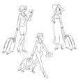 Woman with suitcase vector image