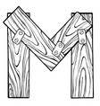 wooden letter m engraving vector image
