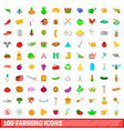 100 farming icons set cartoon style vector image vector image