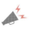 alert megaphone halftone icon vector image