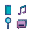 applications web icons set media items vector image vector image