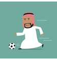 Arabian businessman running with soccer ball vector image