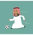 Arabian businessman running with soccer ball vector image