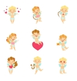 Baby Angels With Bows Arrows And Hearts Set vector image