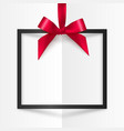 Black gift box frame with red silky bow and ribbon vector image vector image