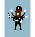 Black policeman with many hands vector image