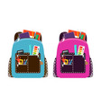 blue and pink schoolbags vector image vector image