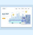 bus trip website landing page design vector image