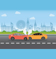 car crash on the road vector image vector image