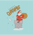 card santa claus sitting chimney with bag vector image