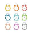 cartoon color alarm clock icon set vector image