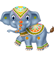 Cartoon funny elephant with indian classic vector image vector image