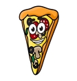 Cartoon pizza slice vector image vector image