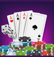 casino poker design poker cards chips vector image vector image