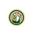 chicken rooster head mascot circle retro vector image vector image