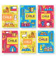 chile brochure cards thin line set country vector image vector image