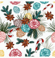 christmas seamless pattern with fur tree branches vector image vector image