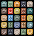 Circle face line flat icons with long shadow vector image
