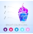 cupcake with cherry icon with infographic vector image
