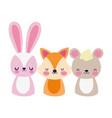 cute animals little bear rabbit and fox cartoon vector image vector image