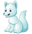cute cartoon arctic fox sitting vector image vector image