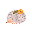 cute cartoon hedgehog with leaves on needles vector image vector image