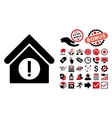 Danger Building Flat Icon with Bonus vector image vector image
