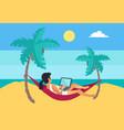 distant worker laptop freelancer woman hammock vector image